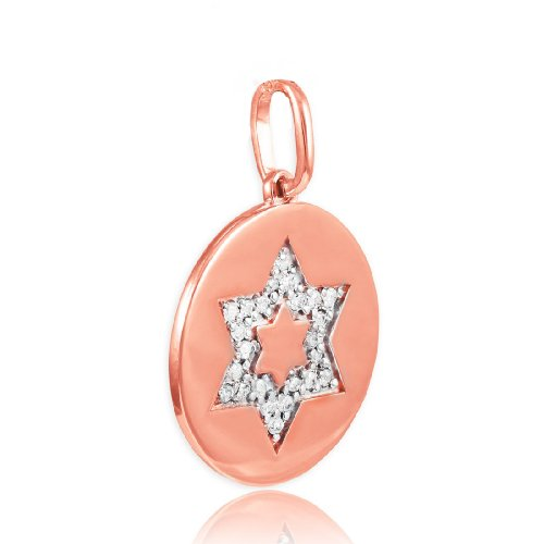 David Diamond Disc Pendant (Polished 14k Rose Gold Star of David Medallion Diamond Disc Charm Pendant)