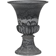 Hills Imports Recycled Composite Planter with Pedestal, 20.75-Inch, Slate Color