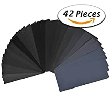 42 Pcs Wet Dry Sandpaper 120 to 3000 Grit Assortment 9 3.6 Inches Abrasive Paper Sheets for Automotive Sanding, Wood Furniture Finishing, Wood Turing Finishing