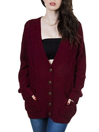 Purple Hanger Women's Long Sleeve Cable Knit Chunky Cardigan Burgundy 8-10 - Burgundy Cardigan Sweater