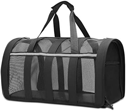 Gray XXL Large Dog Cat Travel Carrier Bags Lightweight Collapsible Mesh Soft Side Dog Kennel Crate for Adult//Baby Cats CLEEBOURG Fashion Pet Carrier Bag