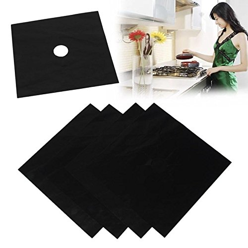 Price comparison product image Stove Guard Cover,  Windspeed 4 Pcs Reusable Stovetop Nonstick Protector Liner Foil Gas Hob CoverMat black