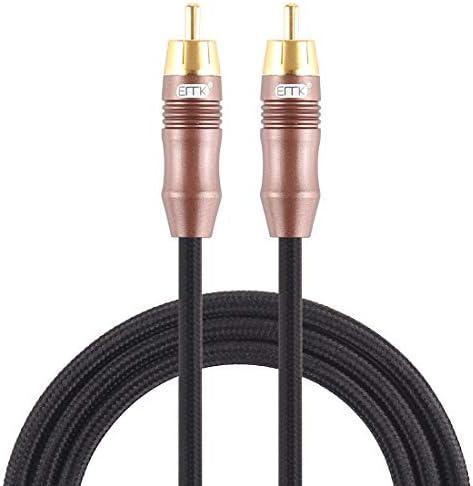 あなたの人生を楽しんでください 2メートル、シンプルで実用的(ブラック):EMK 8ミリメートルRCAオスは、スピーカアンプ、ミキサー、長さのためのRCAオス金メッキプラグコットン編みこみのオーディオ同軸ケーブルを6ミリメートルします (Color : Black)