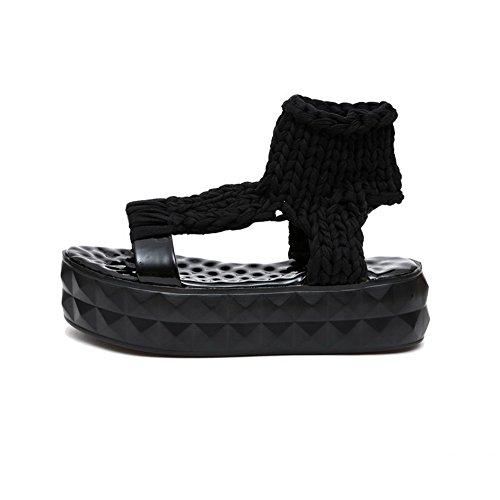 Odomolor Mujeres Sin cordones Puntera Abierta Tacón Medio Sólido Sandalias de vestir Negro