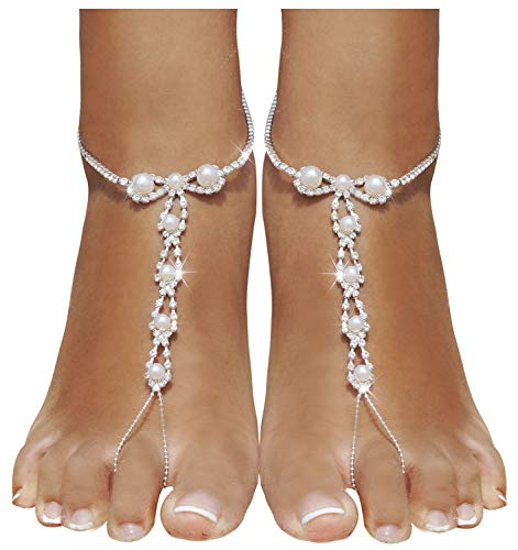 Bellady 2 Piece Barefoot Sandals with Rhinestones and Beads,Beach Wedding Barefoot Sandals,Sliver