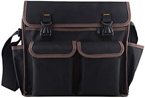 ツールオーガナイザー ホームDIYの使用のための4つのポケット付きツールバッグとショルダーストラップガーデンツールバッグ ポータブルツールボックス (Color : Black, サイズ : L)