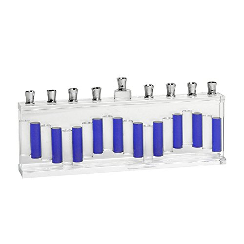 Israel Giftware Designs Fused Glass Menorah with Blue ()
