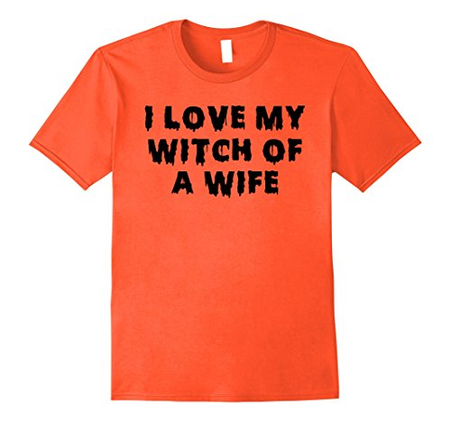 Witch Couple Costumes (Mens Halloween Couples Costumes | I Love My Witch of a Wife Large Orange)
