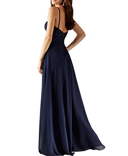 Cheap BONBETE Spaghetti Party Lace Dress Top Simple Straps Evening Royal Dress Wedding Blue Lace Chiffon Long ra7dn0qr