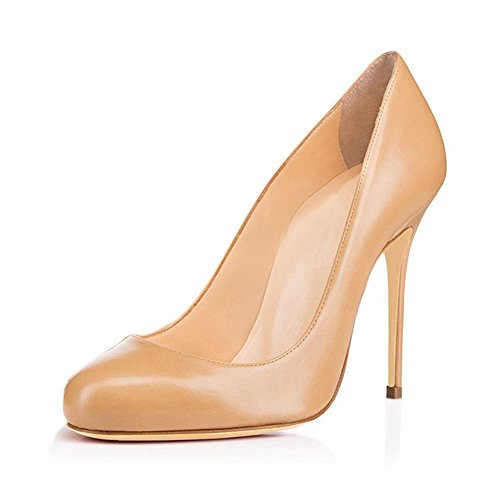 Joogo Round Toe Party Stilettos Slip On High Heels 4.7 inches Thin Heel Classics Pumps Nude Matte Size - Nude And Round Brown