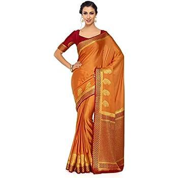8d66a430bffc94 Mimosa Art Crape Silk Wedding Saree Kanjivarm Pattu Style with Contrast  Blouse Color  Gold (4246-2108-2D-CNDN-MRN)
