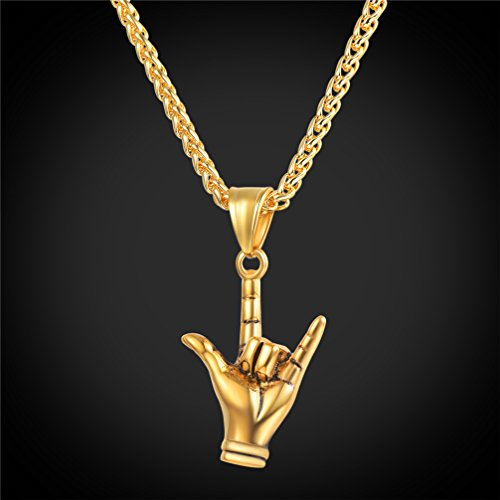 U7 Cool Rocker Jewelry 18K Gold Plated Rock Gesture ILY Love & Peace Sign Hand Pendant Necklace by U7 (Image #1)