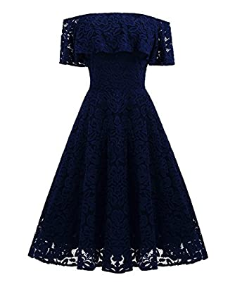 Angerella Wedding Dress Lace Floral Print Off Shoulder Ruffle Wiggle Swing Dress For Women