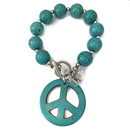 Gypsy Jewels Simulated Turquoise Beaded Peace Sign Charm Hippie Stretch Toggle Bracelet - Stud Turquoise Bracelet