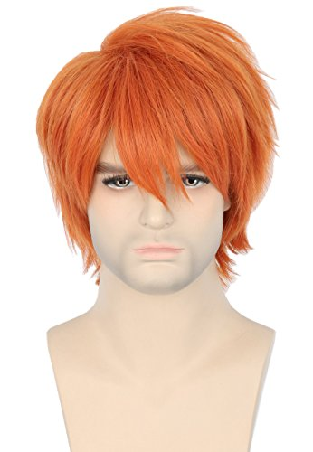 Topcosplay Anime Short Wig Orange Free Bangs Halloween Cosplay Costumes Wig for Men or Women -