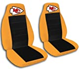 2 Orange and black ''Kansas City'' seat covers for a 1998-2001 Ford Ranger. 60/40 seat covers with armrest included.