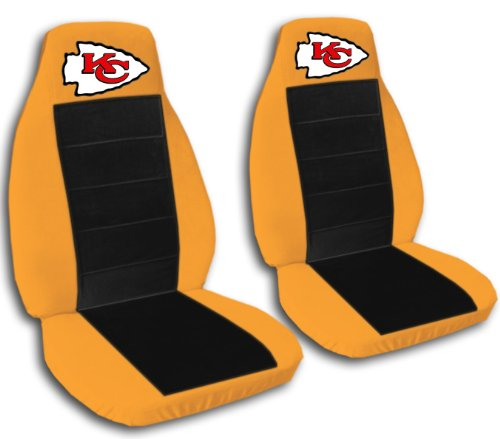 2 Orange and Black Kansas City seat covers for a 2006 to 2009 Chevrolet Equinox. by Designcovers