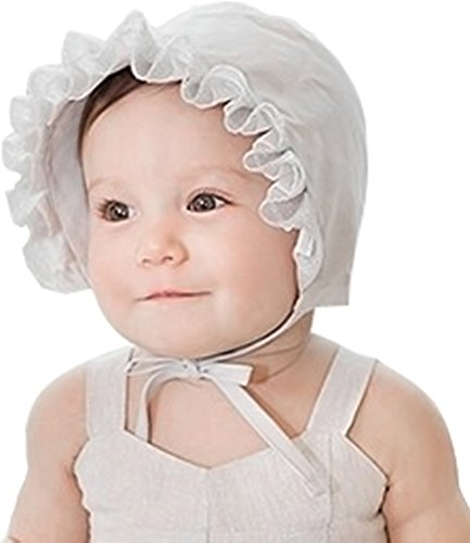 Little Baby Children Ruffle Lace Trimmed Cotton Sun Bonnet with 2 bands Grey (Lace Trimmed Ruffle)