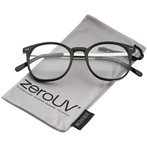 zeroUV - Classic Metal Temple Round Clear Lens Horn Rimmed Glasses 50mm (Black-Silver / - Warranty Parker Warby
