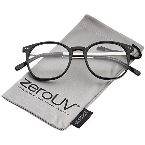 zeroUV - Classic Metal Temple Round Clear Lens Horn Rimmed Glasses 50mm (Black-Silver / - Wayfarer Warby Parker