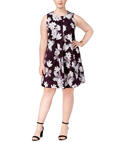 Alfani Floral Dress - Alfani Plus Size Floral-Print A-Line Dress (Plum Watercolor, 14W)