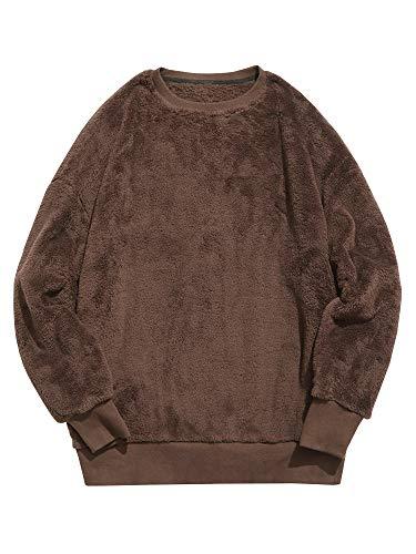 Runcati Mens Sherpa Pullover Fuzzy Sweatshirt Long Sleeve Winter Fall Outwear Fleece Crew Neck Sweaters Fluffy Jumper ()