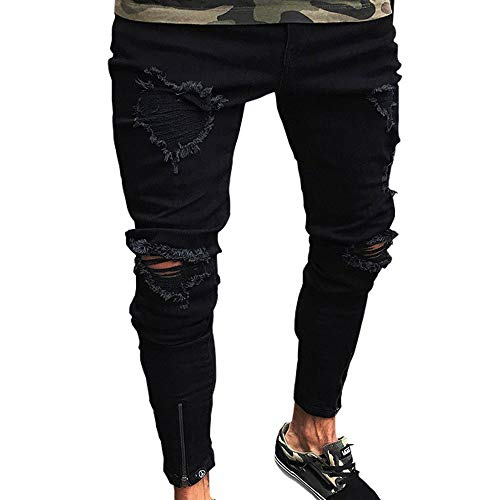 Men's Distressed Slim Denim Pants Hip Hop Ripped Holes Patch Work Skinny Jeans (Distressed Patch)