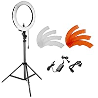 Neewer Camera Photo Studio YouTube Video Lightning Kit: 18 inches/48 centimeters 55W Dimmable LED SMD Ring Light with Color Filter,75 inches/190 centimeters Light Stand, Ball Head Hot Shoe Adapter
