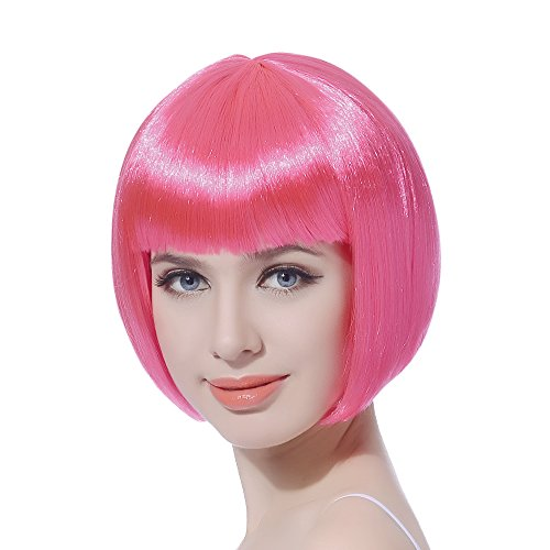 Pink Short Bob Cosplay Flapper Wig-Straight Synthetic Costume Women's Natural Looking Halloween Party Christmas Bangs Wigs]()