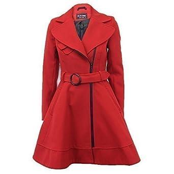 100% authentic dcbc0 12ef4 Frauen Damenmantel Rot im Woll-Look mit Gürtel für den Winter Warm Neu  1311RED