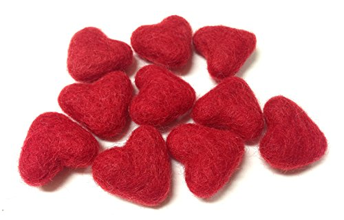 Yarn Place Wool Felted Sculpted Hearts 10 Piece 30mm (Red)