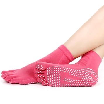 Chaussettes de yoga pour femme en coton antid eacute rapantes chaussettes  de gym avec orteils massage af9925793eb
