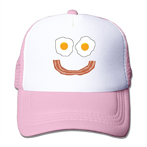 Bacon Egg And Cheese Costume (Lihed Eggs Bacon Smiley Face Trucker Cap Hat Tennis Mesh Caps Pink)