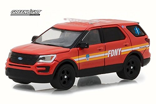 Greenlight 2016 Ford Fire Department City of New York (FDNY) with FDNY Squad Number Decal Sheet, Red 42823/48 - 1/64 Scale Diecast Model Toy ()