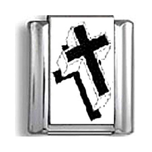 - Black and White Cross Italian charm