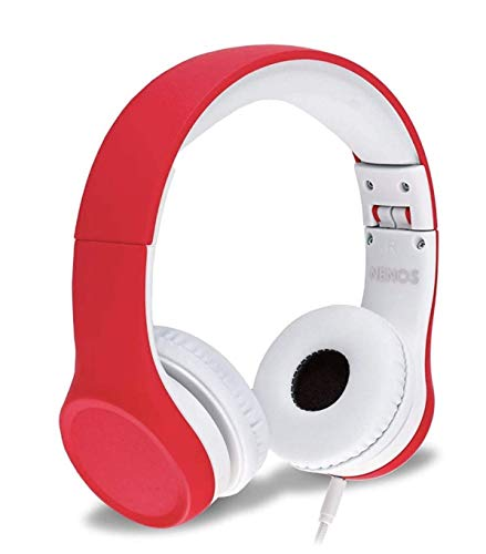 Nenos Kids Headphones Children's Headphones for Kids Toddler Headphones Limited Volume (Red)