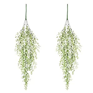 Artificial Ivy Fake Hanging Vine Plants Decor Plastic Greenery for Home Hotel Office Kitchen Wedding Party Garden Craft Art Decor Hanging Basket (Pack of 2PCS/White) 97