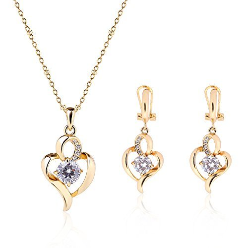 Christmas Gift New Heart 18K Gold Alloy Rhinestones Necklace Earrings Jewelry Wedding Sets (Golden)