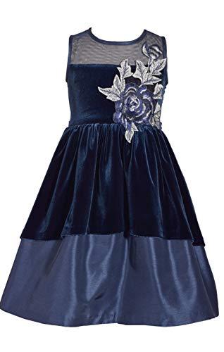 Bonnie Jean Girls Navy Dress - Velour and Satin Illusion Flower ()