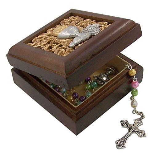 Walnut First Communion Chalice Wooden Keepsake Rosary or Trinket Box, 2 3/4 Inch ()