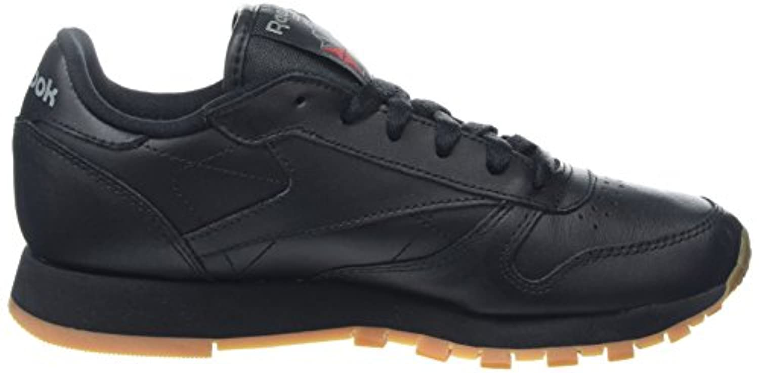 Reebok Boys' Classic Leather Low-Top Sneakers, Black (Black/Gum-2), 3.5 UK