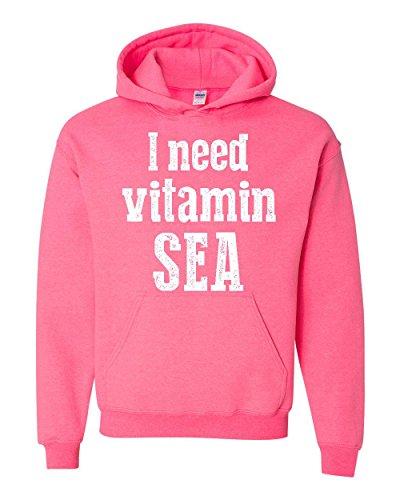 NIB Humor Hoodie I Need Vitamin Sea Men's Hoodie (Halloween Humour 2017)