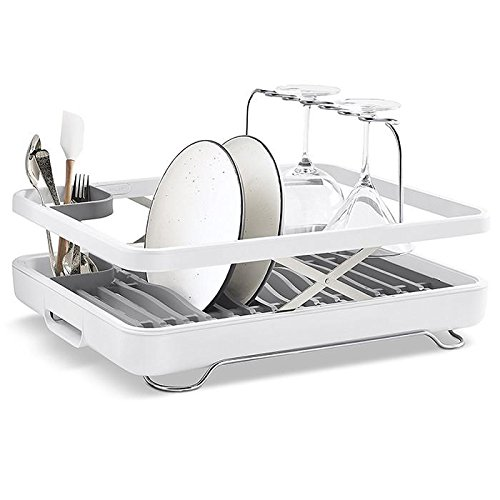 Kohler Pan - KOHLER (K-8631-0) Large Collapsible & Storable Dish Drying Rack with Wine Glass Holder and Collapsible Utensil Band. Even Made to Hold Pots and Pans, White