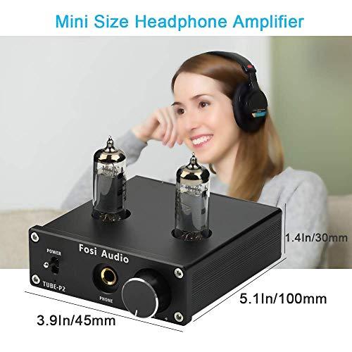 Headphone Amplifier Vacuum Tube Headphone Amp Mini Hi-Fi Stereo Audio with Low Ground Noise Output Protection for Headphones Fosi Audio P2