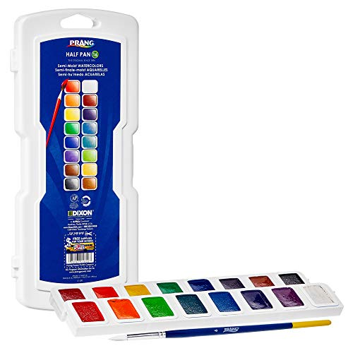 PRANG Half Pan Watercolor Paint Set with Brush and Lid, Refillable, 16 Assorted Colors, (01600)