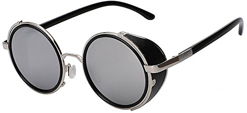 Steampunk 002 Retro Gothic Vintage Hippie Colored Metal Round Circle Frame Sunglasses Silver Mirror Lens OWL
