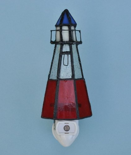 Lighthouse Stained Glass Night Light with Photocell