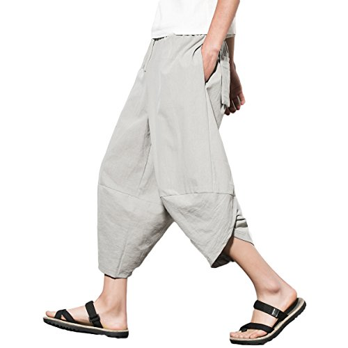 INVACHI Mens Casual Elastic Waist Linen Capri Wide Leg Baggy Harem Pants Trousers Light Grey -