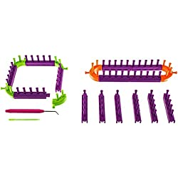 Snap Together Create Your Own Loom Knit Kit Includes 20 Connectable Loom Pieces, 1 Picking Hook, and 1 Plastic Needle for Creating Hats, Scarves, Blankets, Cowls, and More