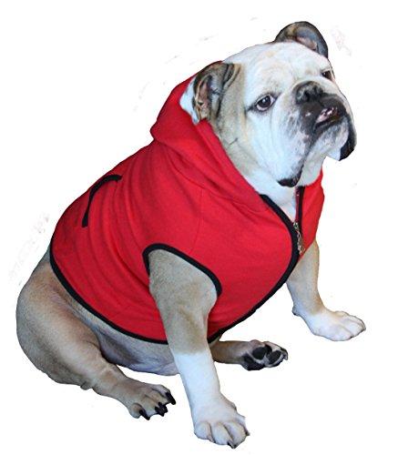 Dog Sweatshirt Hoodie, RED, Bulldog Extra Large